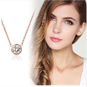 Jewelry - 14K Gold Solitaire CZ Round-Cut Crystal Necklace